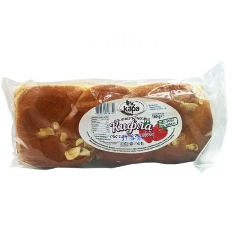 Пълнозърнеста кифла със сладко от ягоди - 160 гр.