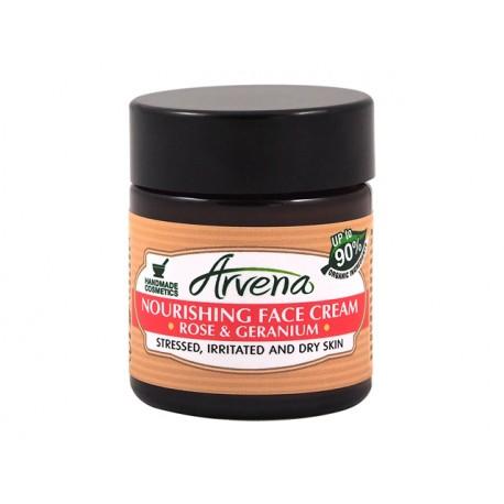 Подхранващ крем за лице с роза и гераниум, Аврена, 30 мл.