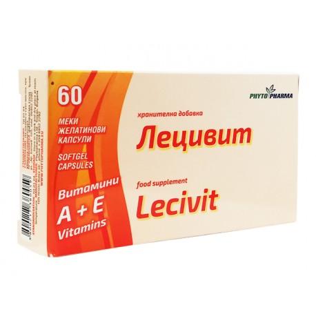 Лецивит, витамин А+Е, ФитоФарма, 60 капсули