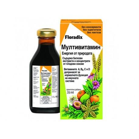 Мултивитамин, билкови екстракти и плодови сокове, Floradix, 250 мл.