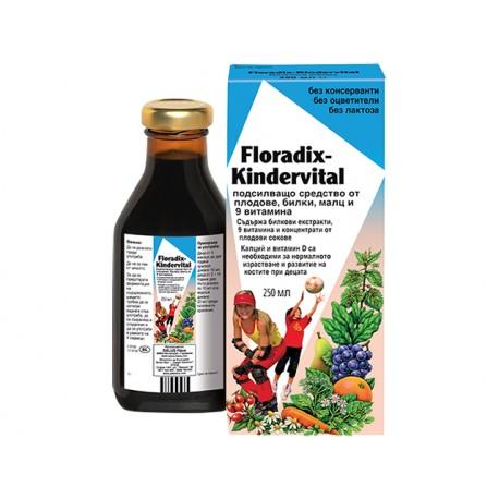 Floradix Kindervital, multivitamins for children with calcium, 250 ml