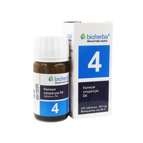 Минерална сол №4, Калиум хлоратум, Биохерба, 230 таблетки