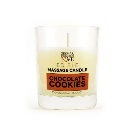 Massage candle - chocolate cookies, for erotic massage, Sezmar, 100 ml