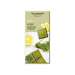 Organic White chocolate with matcha and lemon, vegan, Benjamissimo, 70 g