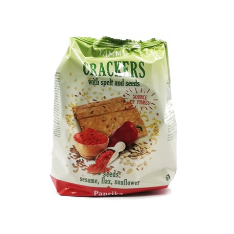 Crackers with spelt and seeds, paprika, Yammy Yo, 110 g