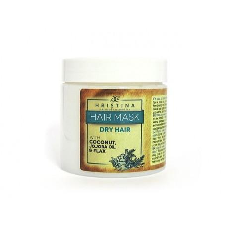 Маска за суха коса с кокосово масло, лен и жожоба, Христина, 200 мл.