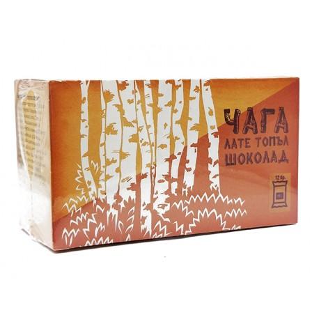 Чага Лате, топъл шоколад с Чага и Стевия, Верде Вита, 12 сашета