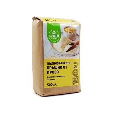 Натурално пълнозърнесто брашно от просо, Екосем, 500 гр.