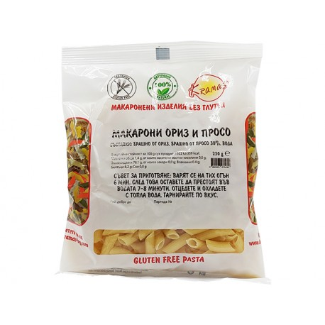 Macaroni from rice and millet, gluten free, Kramas, 250 g